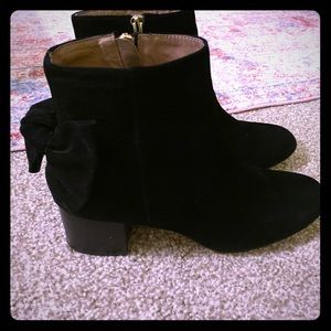 Anthropologie suede bow booties